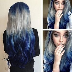 Blue Mix Grey Gradient Long Curly Wig